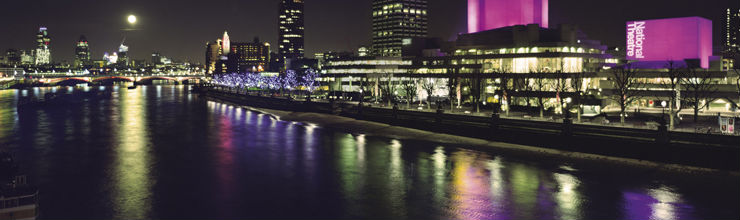 View of the National Theatre at night from Waterloo Bridge